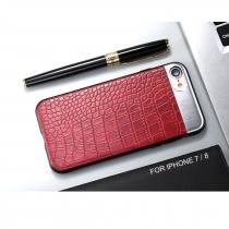 COQUE FASHION CROCO SUR METAL IPHONE 7/8 - Rouge