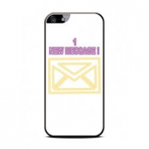 """COQUE IPHONE 4/4S BLANCHE """"1 NEW MESSAGE"""""""